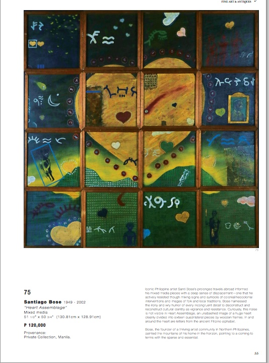 "Page 55 of the Issuu catalog of the ""Magnificent September Auction"" with the untitled painting by Rene Aquitania, dubbed ""Heart Assemblage"" by Leon Gallery and attributed to Santiago Bose."